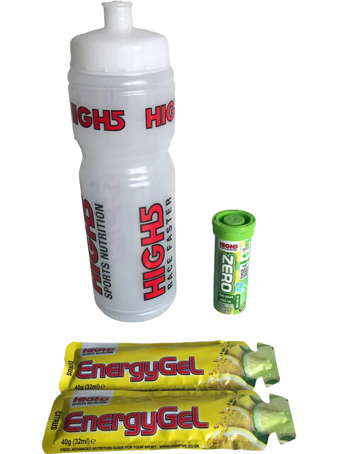 High5 Bottle 750ml with Energy Gels and Electrolyte Lemon Sports Nutrition MHD 07.11.18 transparent/colourful